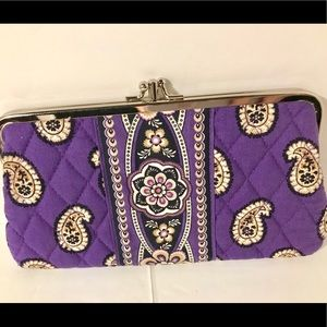 Vera Bradley double kiss lock wallet clutch Purple